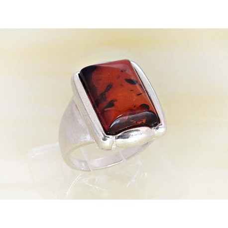 Bernsteinschmuck - Bernstein-Ring cognac braun Silber-925 BR331