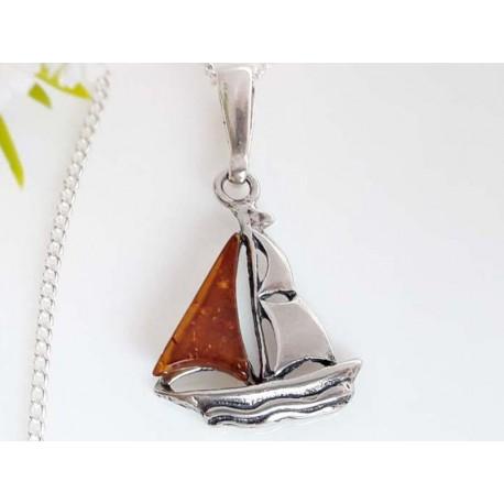 Segelboot Anhänger Bernstein braun Silber 925 Silber 925 ba420