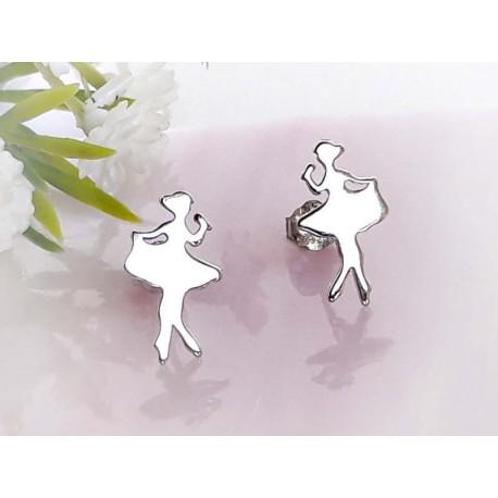 Ohrringe Ballerina Silber Ohrstecker rhodiniert Sterlingsilber 925 sx87