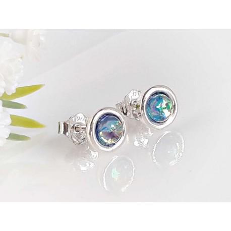 Ohrringe Ohrstecker Silber 925 synth. Opal blau rund sb200