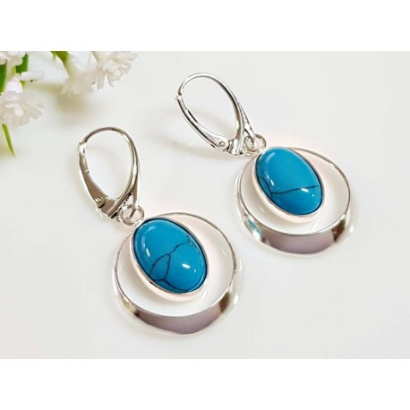 Türkisschmuck - Türkisohrhänger blau oval Silber-925 (GZ259)