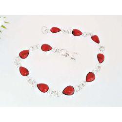Silberschmuck  Armband mit Koralle Silber 925 KL243