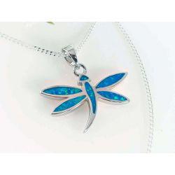 Silberschmuck  Anhänger Libelle Opal blau Silber-925 sp263