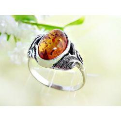 Bernstein Ring Silber 925 Ohrringe braun oval Sterlingsilber br332