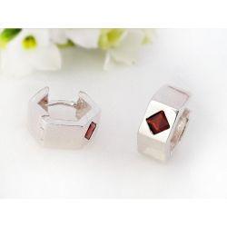 Creolen Silber 925 Sterlingsilber  Zirkonia rot sc250