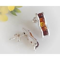 Bernstein Ohrstecker Silber 925 Ohrringe mehrfarbig Sterlingsilber ED134