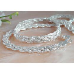 Halskette Collier Silber geflochten 37 -50 cm Silber 925  SD177