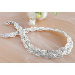 Silber Armband geflochten  16,5 - 21 cm Silber 925 Silberschmuck sg168