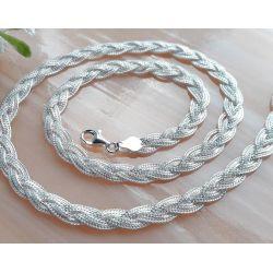 Halskette Collier Silber geflochten 37 -50 cm Silber 925  SD183