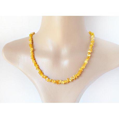 Bernstein Collier Damen Halskette braun gelb 50 cm DC232